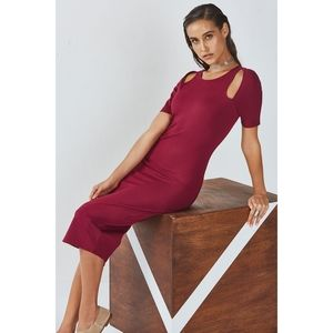 New Fabletics Size L Stretch Midi Dress Burgundy